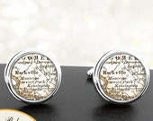 Cufflinks Rockville Maryland Handmade Cuff Links City State Maps MD Groomsmen Wedding Party Fathers Dads Men