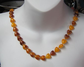 "Amber Heart Bead Necklace, Honey Amber, Baltic Amber 36"" Necklace"