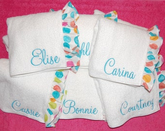 Monogrammed Towel Wrap with a Large Bright Polka Dots