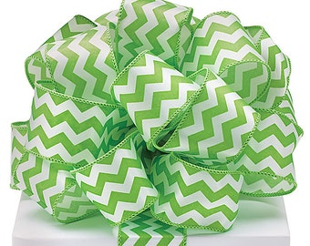 """5YDS x 1-1/2"""" Lime Green & White Satin Zig Zag Lines Pattern Wired Edge RIBBON"""
