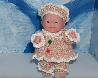 5 Inch Berenguer Doll In Crocheted GingerBread Outfit