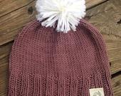 Hand Knit Pompom Beanie size 2-4 years