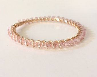 Blush Pink Crystal Wire Wrapped Gold Bangle Bracelet