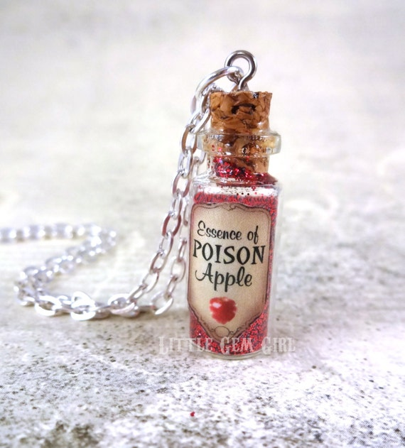 Essence of Poison Apple Snow White Bottle Necklace - Evil Queen Jewelry - Mini Glass Bottle Vial Charm - Once Upon a Time Magic Spell Charm