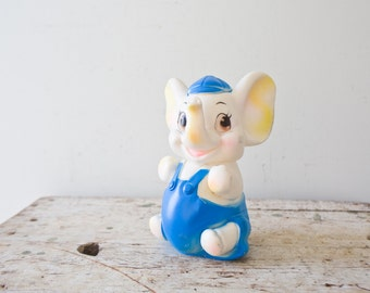 Vintage Plastic Elephant Toy - Farm Animal Squeeze Squeaker Toy Vintage Dog Toy Sanitoy Fitchburg Blue White
