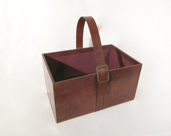 Leather basket, leather tote, firewood basket, magazine basket, magazine holder, decorative leather basket
