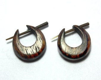 Mini Hoops - Post Earrings - Echo Friendly, Dark Tropical Wood, Tribal Earrings, Organic, Split, Plugs, Handmade - WP10