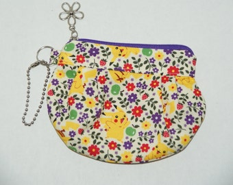 "Gathered Zipper Pouch / Card and Coin purse Made with Cotton Oxford Fabric ""Pokemon - Purple Flowers"""