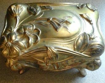 vintage bronzed victorian style box trinket box bronzed chest