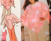 Simplicity 4708 Women's Skirt in Two Lengths, Pants, Poncho and Knit Top Pattern, UNCUT, Size 26-28-30-32W, Plus Size, 2004, Khaliah Ali