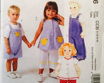 McCall's M4756, Size 1-2-3-4, Toddlers' Tops, Pants and Jumpsuit in Two Lengths Pattern, UNCUT, Unisex, Boys and Girls, 2005, Play