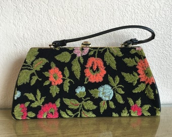 Vintage Tapestry Purse - Bright Colors - Floral - 60s - Mad Men - VLV - Pin Up - Free Shipping!