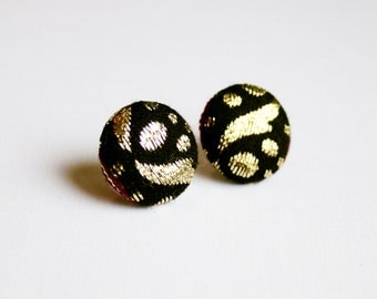 Fabric covered button earrings with fabric in gold and black