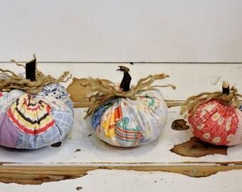 Stuffed Fabric Pumpkins, Primitive Quilt Patchwork Fall Shelf Sitters,Autumn Harvest Halloween Thanksgiving Pumpkins,Set of 3 itsyourcountry