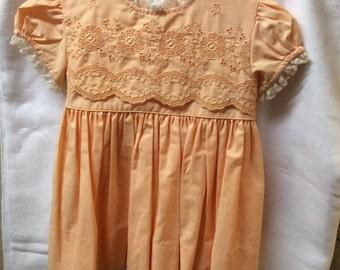 """Vintage Little Girl's Peach """"Nanette"""" Dress"""