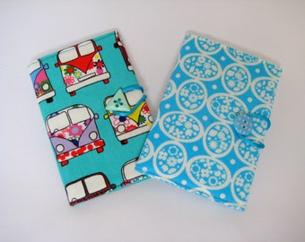 Fabric Credit / Business Card Case - Campervans or Aqua Blue graphic Florals Cotton Bus Card Holder, Loyalty Card Case