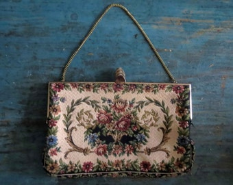 Vintage Tapestry Purse Rose Floral Embroidery Evening Clutch