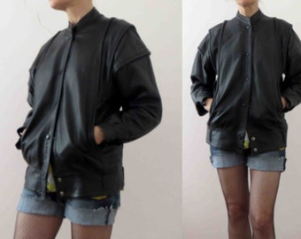 80s Black Leather Jacket Motorcycle Biker Genuine Leather Small