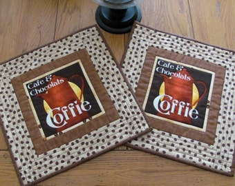 Quilted Placemats Italian Cafe & Chocolats Coffie Theme Fabric Beige/Cream Burgundy Coffee Pot Coffee Bean Boarder - Two Large Mug Mats