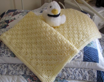 "Pale Yellow Baby Afghan Hand Crocheted Acrylic ""I Love this Yarn"" Soft Stroller/Car Seat Blanket, Baby Shower, Christening/Baptism Blanket"