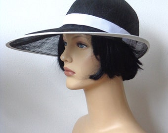 Flapper hat, black and white sinamay cloche, sun hat, wedding hat, retro, 1920s vintage inspired, garden party, bridesmaid hat, great Gatsby