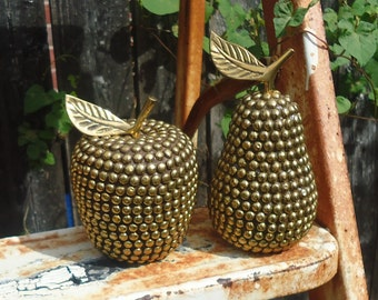 Pair of Vintage Beaded/Studded Apple and Pear Figurines/Paperweights