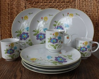 Vintage Strawberry Wild Flower Cups and Plates
