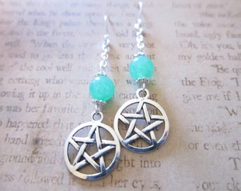 Green Aventurine Gemstone Pentagram Charm Chain Earrings TCJG