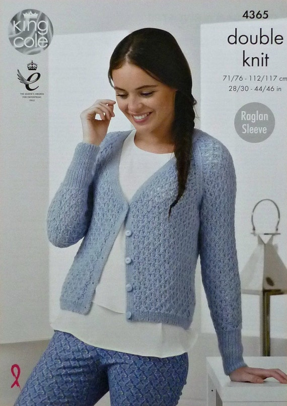 Womens Knitting Pattern K4365 Ladies Long Raglan Sleeve V-Neck