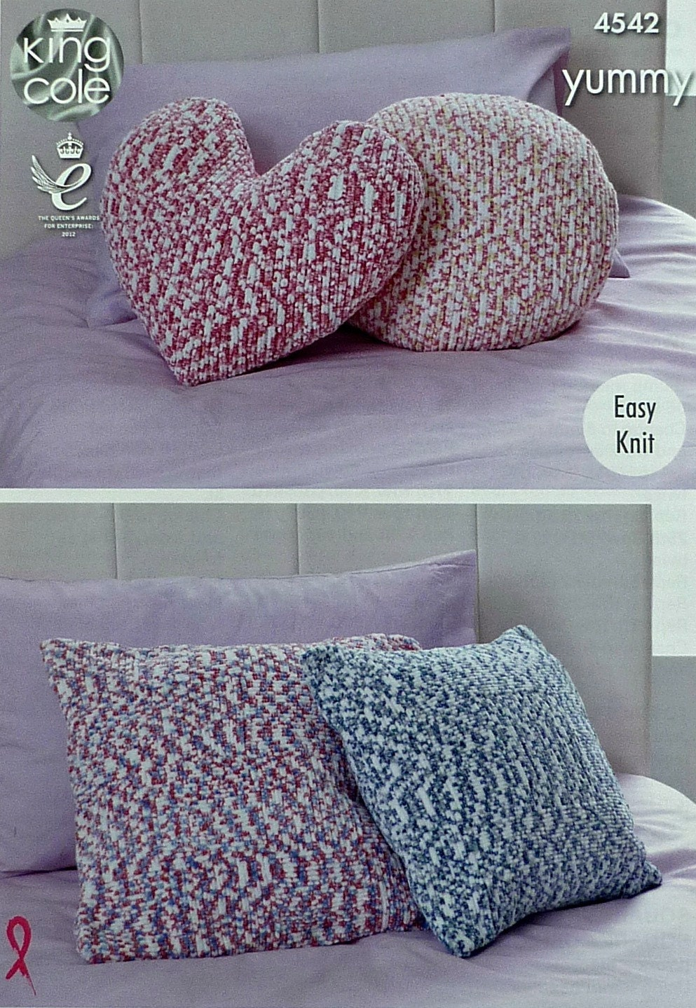 Cushion/Pillow Knitting Pattern K4542 Easy Knit 4 Styles Cushion/Pillow Knitt...