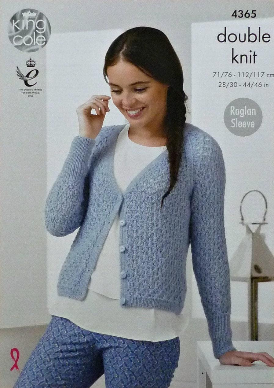 Ladies Raglan Cardigan Knitting Pattern : Womens Knitting Pattern K4365 Ladies Long Raglan Sleeve V-Neck Lacy Cardigan ...