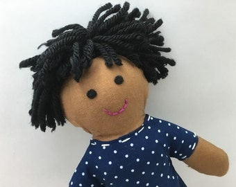 EMMA--cloth doll in dark blue spotted dress--brown skin, black hair, black eyes (FREE shipping in USA)