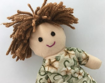 AUDREY--cloth doll in cream green floral dress--light skin, light brown hair, brown eyes (FREE shipping in USA)