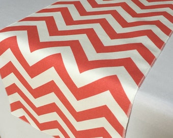 Coral and White Chevron table runner - SELECT A SIZE