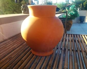 Vintage Coors Pottery Vase Jar Orange Matte Finish 1930's Boulder Colorado Home Decor
