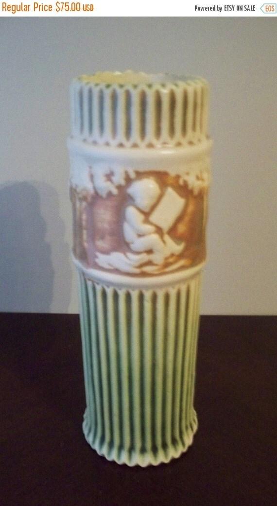 "ON SALE Roseville Art Pottery Donatello 8""  Vase Cherubs 1915 Art Deco Style Pottery"