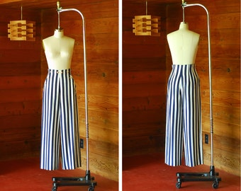 vintage nautical blue and white striped silk wide leg trousers / size small