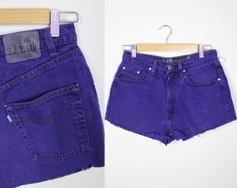 Vintage Retro Purple Silver Tab Levi High Waisted Shorts Size 29