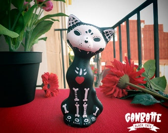 Black Cat Figurine Sculpture Cat Painted Handmade Unique - Boy Cat Figure - Kitty Day of the Dead - Ganbatte Black Cats