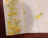 Single pillowcases spring bright yellow roses soft with eyelet trim