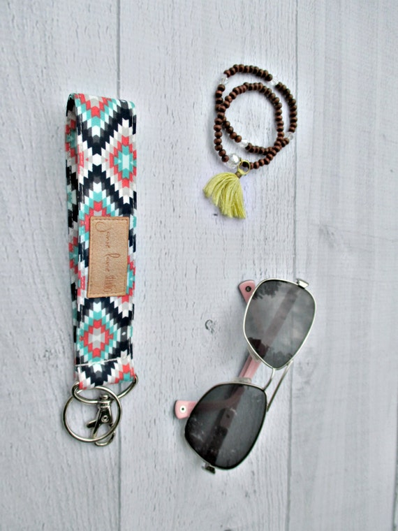 Kilim Key Lanyard | Mint, Navy, Coral and White Southwest Fabric