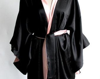 Stunning Satin Robe Kimono, Luxury boudoir bridal, Glam Satin Gift Wife, girlfriend, lover, fiancé, anniversary, wedding, birthdayfor