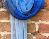 Linen Scarf Shawl Wrap Stole azure cornflower blue - Multicolored, Light, Transparent SALE