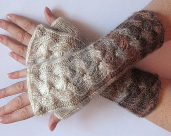 Fingerless Gloves White Brown Beige wrist warmers