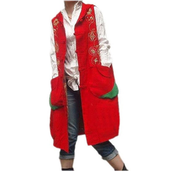spring Red linen Hooded sleeveless large size Long dress