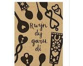 Rwyn Dy Garu Di Welsh St Dwynwens Valentines Day card. Welsh Lovespoon. Love spoons. Caru. Cariad. Welsh Cariad Card.  Wales. Cymru.