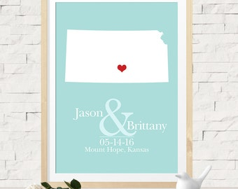 Unique Wedding Gift for Couples, Wedding Guest Book Alternative, Custom Wedding Map Canvas or Art Print, Any State or Country Map Available