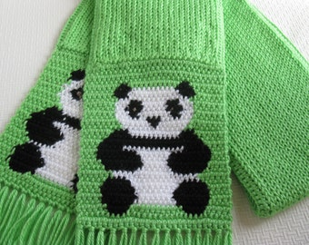 Panda Bear Scarf. Bright green knitted scarf with crochet pandas. Knit panda scarf. Animal scarves