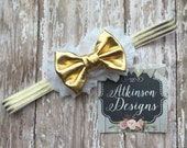 White and Gold Headband- White Shabby Flower Gold Bow and Striped Gold and White Elastic- Newborn/Infant/Toddler/Adult - Photography Prop