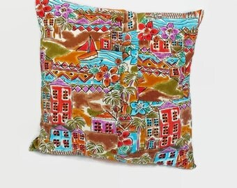 Tropical Beach Village Pillow Cover 18 Inch Square Upcycled 18 X 18